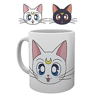 Sailor Moon Luna y Artemis taza
