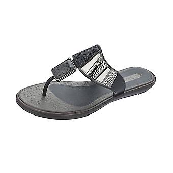 Grendha Allure Thong Womens Flip Flops / Sandals - Black Snake