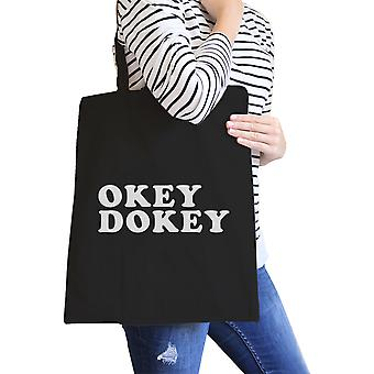 Okey Dokey Black Canvas Eco Bag Cute Graphic Trendy Tote Bags