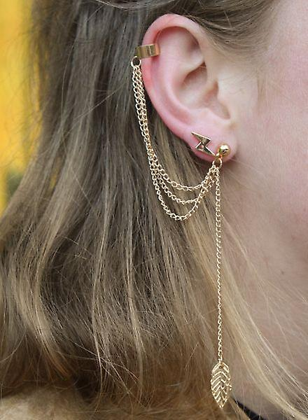 Long, edgy statement earring with feather gold