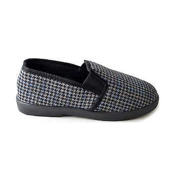 SlumberzzZ Mens Window Pane Check Style & Fleece Lining Slip On Slipper