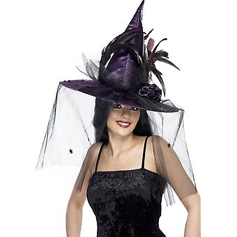 Hat witch purple feather and net Deluxe
