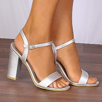 Shoe Closet Silver Heels - Ladies DB79 Silver Metallic Barely There Strappy Sandals Peep Toes High Heels
