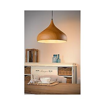 Lucide WOODY Dark Wood Ceiling Pendant