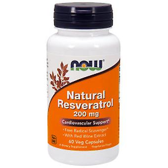 Now Natural Resveratrol 200 mg 60 Cápsulas Vegetales