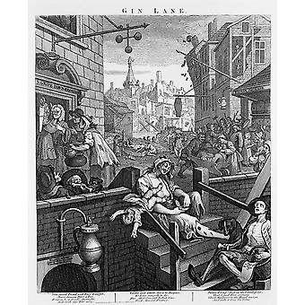 William Hogarth - Gin Lane Poster impressão giclée