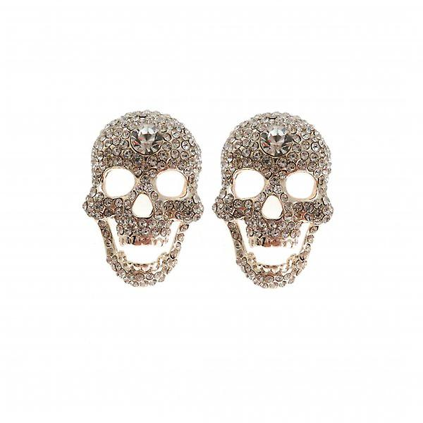 W.A.T Large Clear Crystal Skull Shaped Earrings