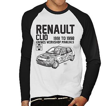 Haynes Owners Workshop Manual Renault Clio Black Men's Baseball Long Sleeved T-Shirt