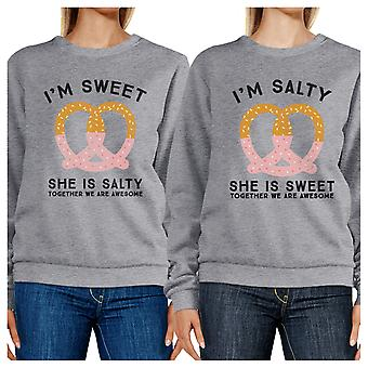Sweet And Salty Unisex Gray Friend Matching Sweatshirts Round Neck