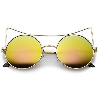 Oversize offen Metall Cat-Eye Damensonnenbrille mit farbigen Spiegel flache Linse 54mm