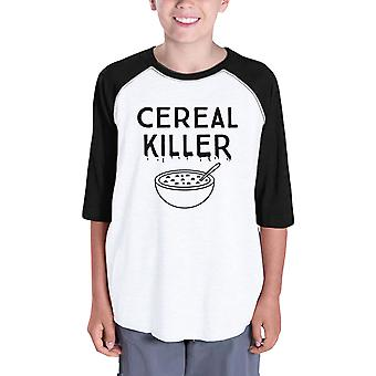 Cereal Killer Kids Baseball Raglan Shirt Funny Horror Night Tshirts