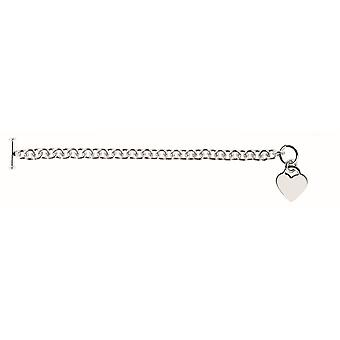 Sterling Silver Rhodium 7.95mm Shiny Rnd Cable Bracelet Heart Charm Arm Toggle Clasp - Length: 7.25 to 8