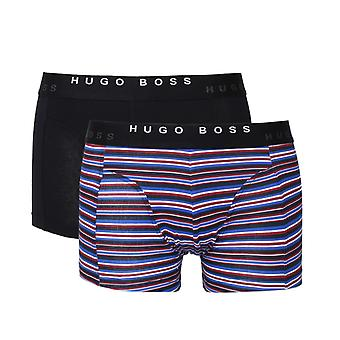 BOSS Navy Two Pack Cotton Boxer Trunks