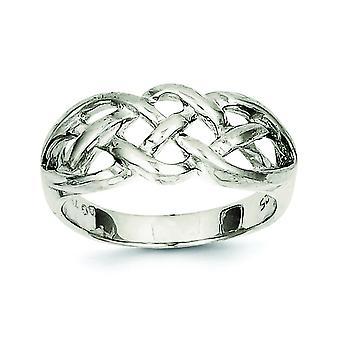 Solid Sterling Zilver gepolijst geweven Top Ring - Ringmaat: 6 tot 8