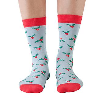 Holly women's soft bamboo Christmas crew sock in sky | By Doris & Dude