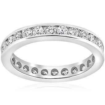 1 1 / 2ct kanal Set Diamond Eternity Ring 14K vitt guld