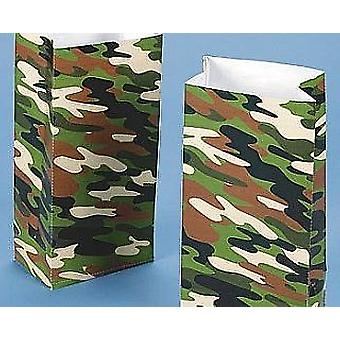 12 Camouflage Print Paper Party Bags | Kids Party Loot Bags