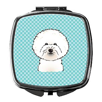 Carolines Treasures  BB1155SCM Checkerboard Blue Bichon Frise Compact Mirror