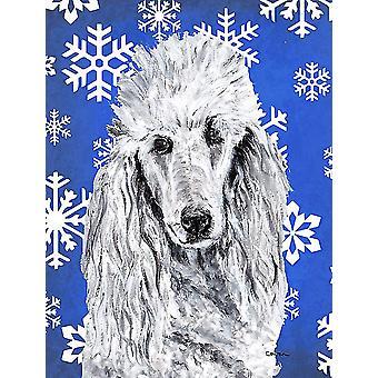 White Standard Poodle Winter Snowflakes Flag Canvas House Size