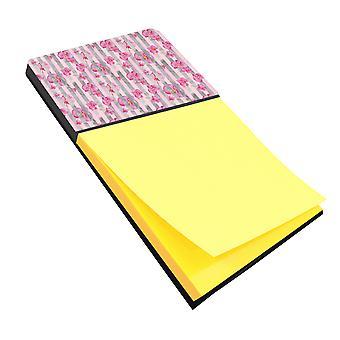 Aquarel roze bloemen Grey Stripes notitie houder