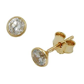 Classic Stud Earrings gold 375 plug 4 mm cubic zirconia made, 9 KT GOld