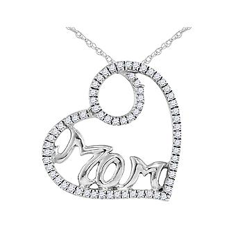Diamond MOM Heart Pendant Necklace 1/10 Carat (ctw) Sterling Silver with Chain