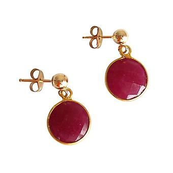 Gemshine - ladies - earrings - 925 Silver - gold plated - Ruby - Red - CANDY - 2 cm