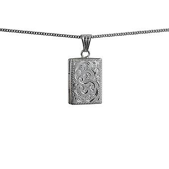 Silver 22x15mm hand engraved flat rectangular Locket with a curb Chain 18 inches