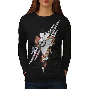 Ninja bloem roos T-shirt van de koker van de BlackLong van de vrouwen | Wellcoda