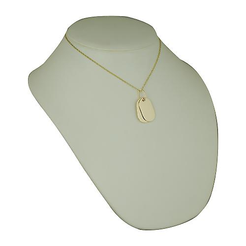 Two 9ct Gold 29x17mm plain rectangular ID Tags with belcher Chain 16 inches Only Suitable for Children