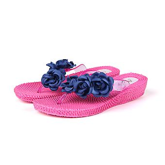 Atlantis Shoes Women Supportive Cushioned Comfortable Sandals Flip Flops Three Flowers Pink-blue