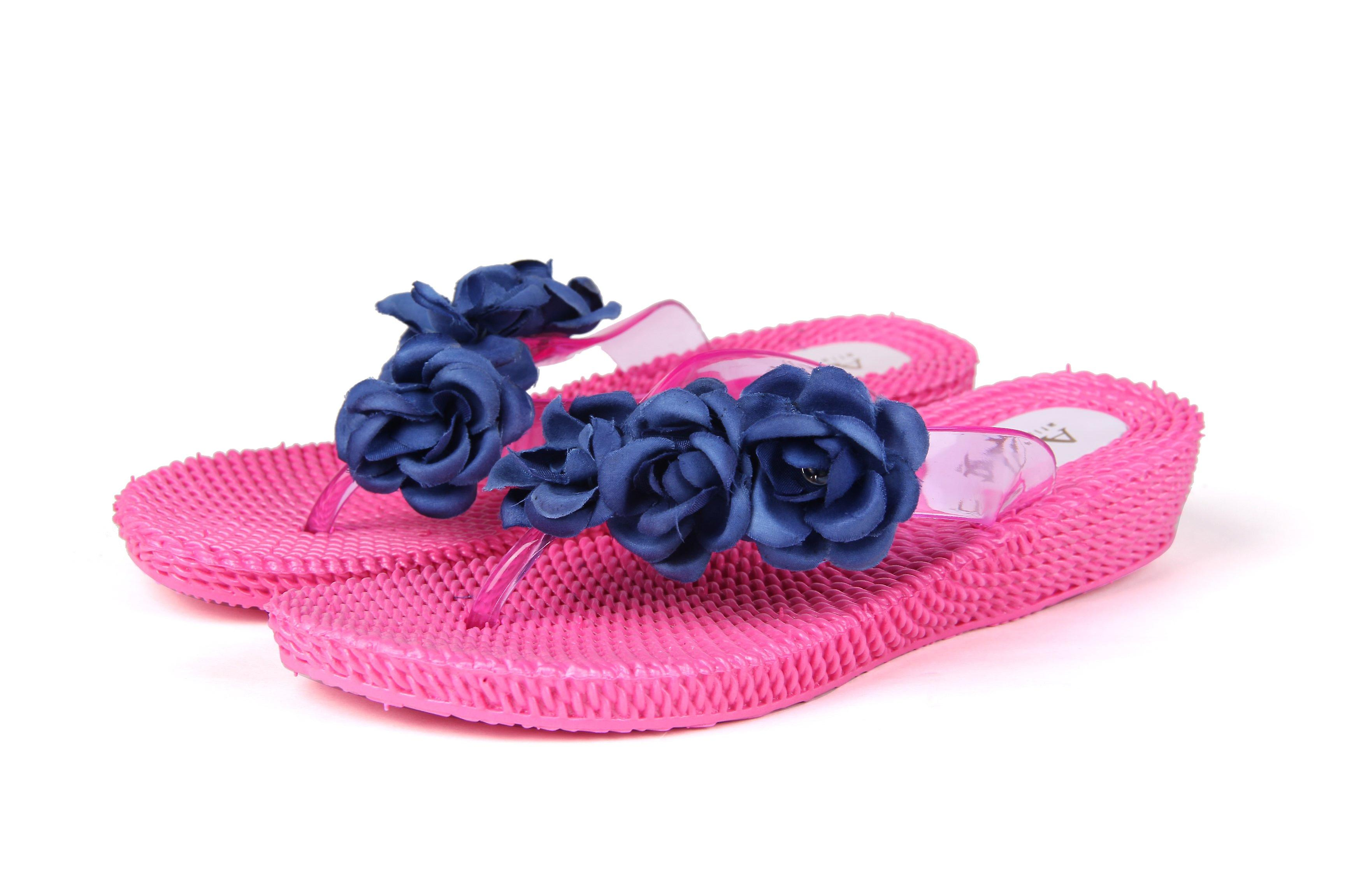 blue Flowers Cushioned Sandals Three Flip Flops Atlantis Shoes Pink Comfortable Supportive Women FwxZ4aPq