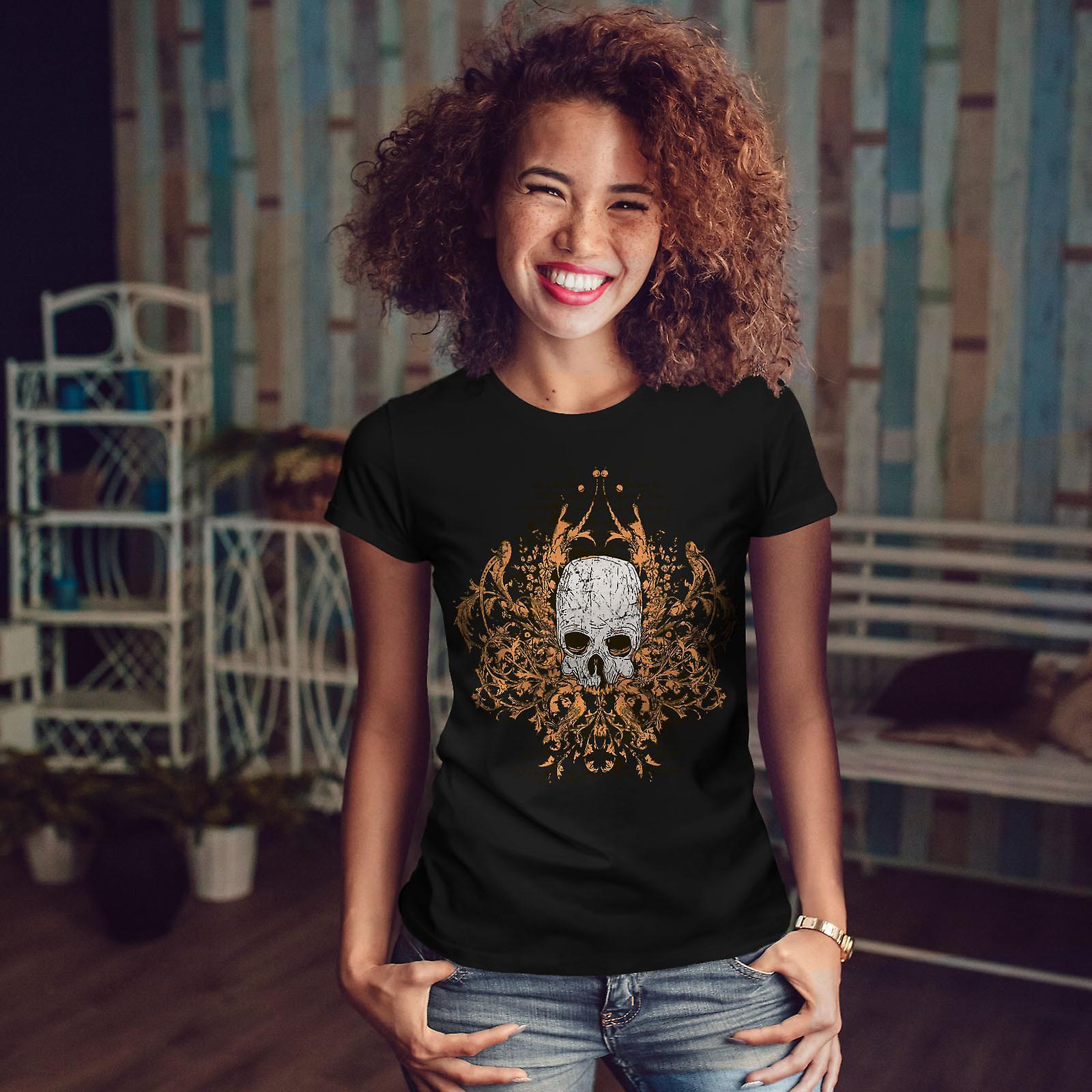 Death Metal Badass Skull Women BlackT-shirt | Wellcoda