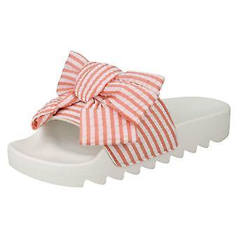 Ladies Spot On Striped Bow Vamp Sliders F00104
