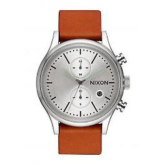 Nixon The Station Chrono Leather Silver / Tan (A1163-2853)