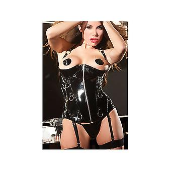 Allure Lingerie AL-11-2807 Cupless Vinyl Corset with zipper & rings on front