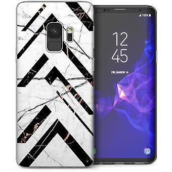 Samsung Galaxy S9 mármol raya abstracta geométrica Gel de TPU - blanco