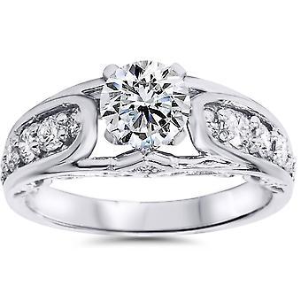 1 1 / 4ct Vintage antik stil diamant förlovningsring 14K vitguld