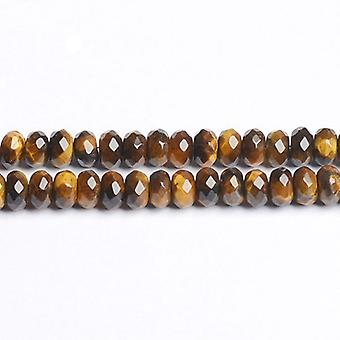 Strand 75+ Yellow/Brown Tiger Eye 5 x 8mm Faceted Rondelle Beads CB50452-2