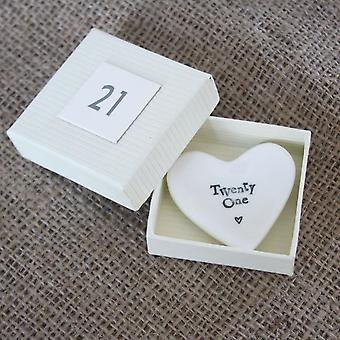 East of India Mini Twenty One Heart Dish - 21 Keepsake Present / Birthday