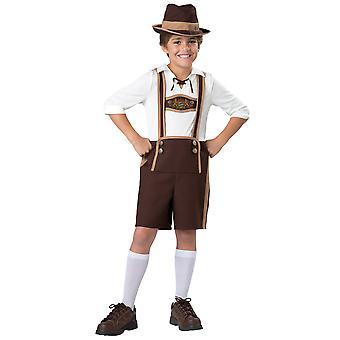 Bayerske fyr Oktoberfest Lederhosen tyske Fancy kjole op drenge kostume