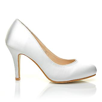 PEARL White Satin Stiletto High Heel Classic Bridal Court Shoes