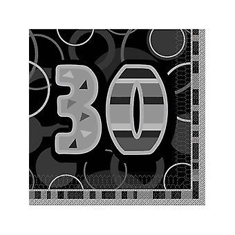 Anniversaire Glitz noir & argent 30ème anniversaire - serviette