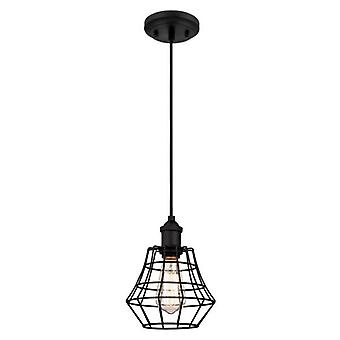 Westinghouse Nathaniel One-Light Pendant matte black with angled cage