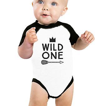 Wild One Feather Baby Raglan Shirt Graphic Baby Baseball Bodysuit