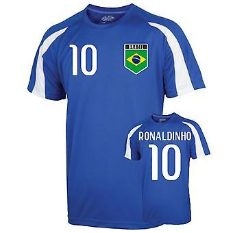 Brazil Sports Training Jersey (ronaldinho 10) - Kids