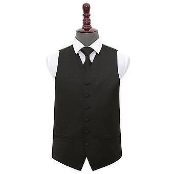 Black Swirl Wedding Waistcoat & Tie Set
