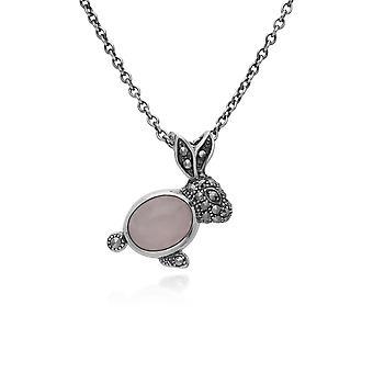 Gemondo Sterling Silver Rose Quartz & 0.Marcasite Rabbit 45cm Necklace