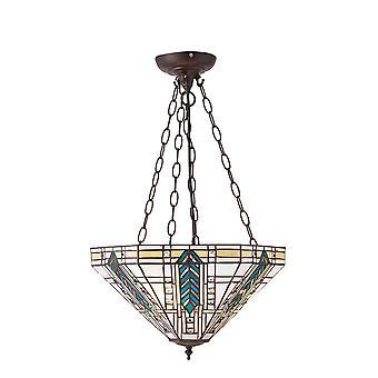 Interieurs 1900 Lloyd 3 lichte Tiffany stijl omgekeerde plafond hanger
