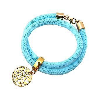 Gemshine - - bracelet - damesarmband - 925 zilver - Gold - levensboom - blauw